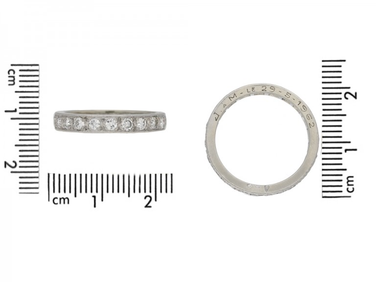 Diamond set eternity ring, French, circa 1960.