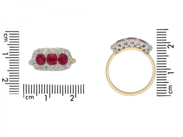 size view Edwardian ruby triple cluster ring, English circa 1910. berganza hatton garden
