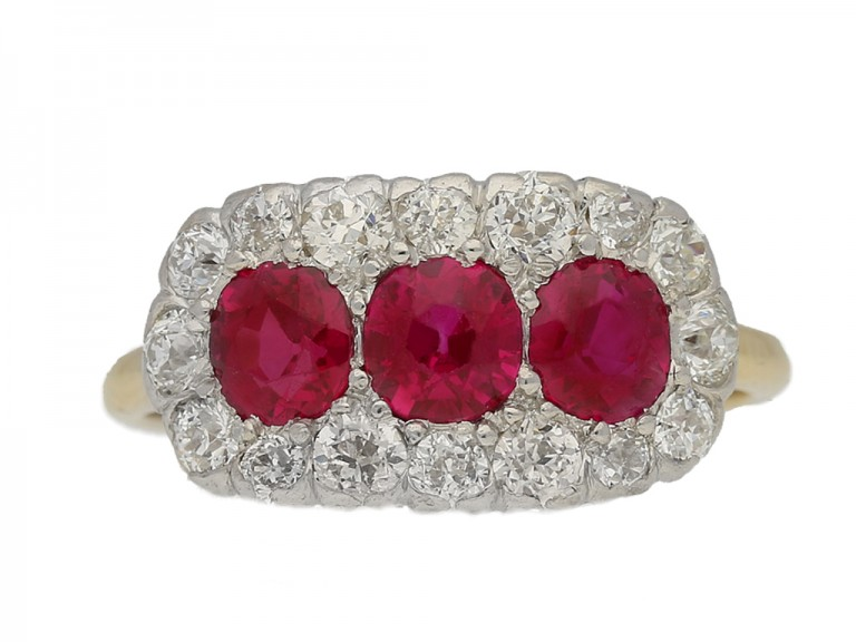 front view Edwardian ruby triple cluster ring, English circa 1910. berganza hatton garden