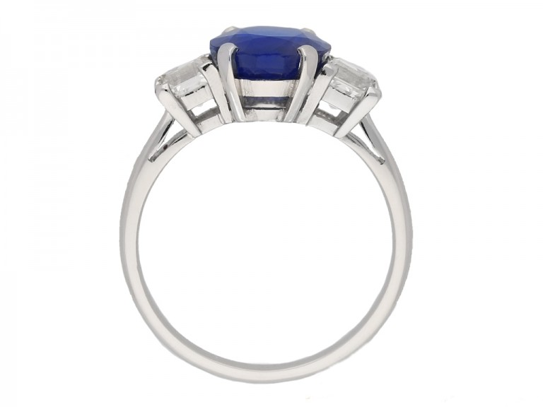 back view Vintage Burmese sapphire diamond ring berganza hatton garden