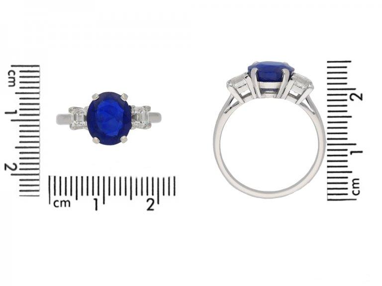 size view Vintage Burmese sapphire diamond ring berganza hatton garden