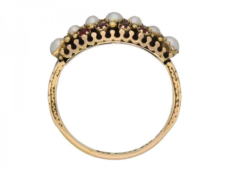 Victorian pearl and ruby ring, English, circa 1875. berganza hatton garden