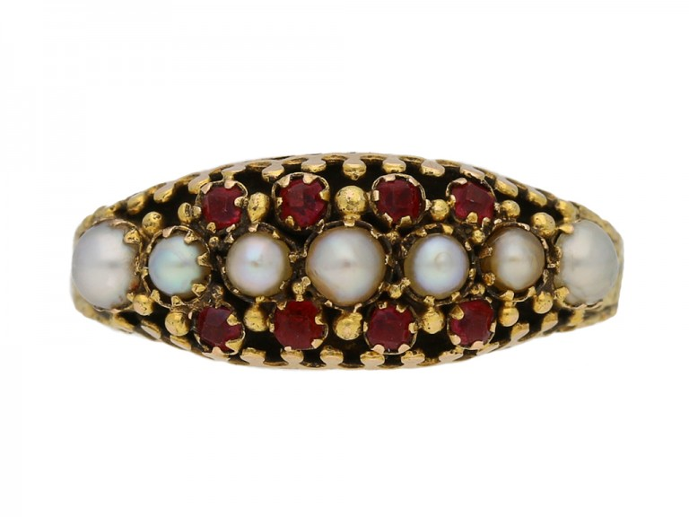 front view  Victorian pearl and ruby ring, English, circa 1875. berganza hatton garden