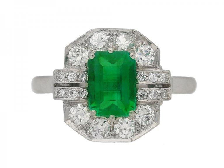 front view Art Deco emerald and diamond ring, English, circa 1935. berganza hatton