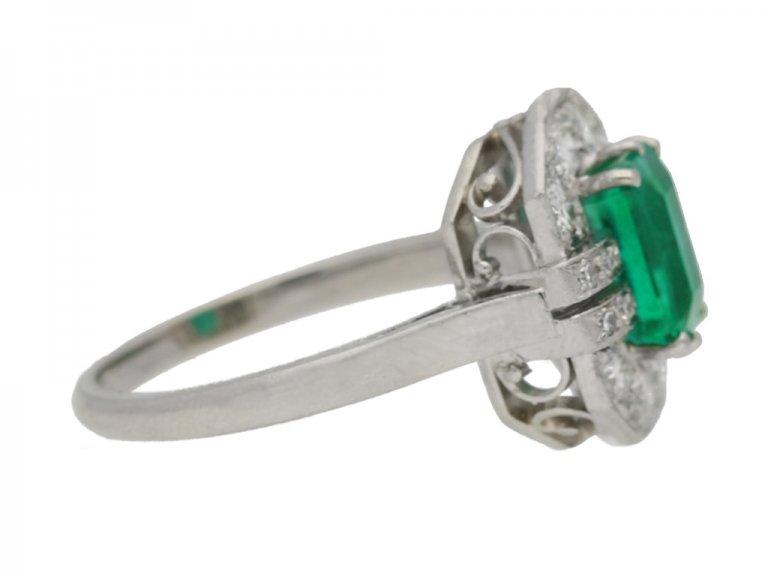 Art Deco emerald and diamond ring, English, circa 1935. berganza hatton