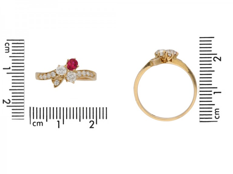 Art Nouveau ruby and diamond ring, circa 1900. berganza hatton garden