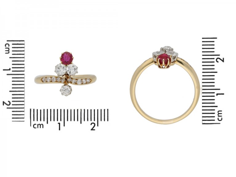 Edwardian ruby and diamond ring, circa 1905. berganza hatton garden