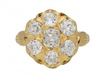 front view Antique diamond cluster ring by Birks of Canada, circa 1890. berganza hatton garden