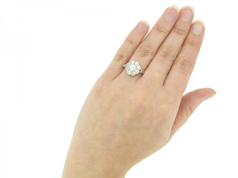 hand view Old cut diamond cluster ring, circa 1920.