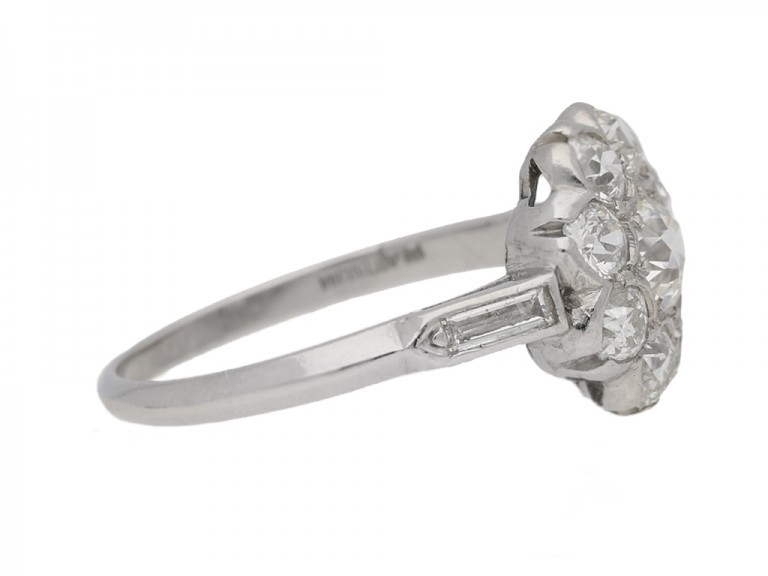 side view Old cut diamond cluster ring, circa 1920.