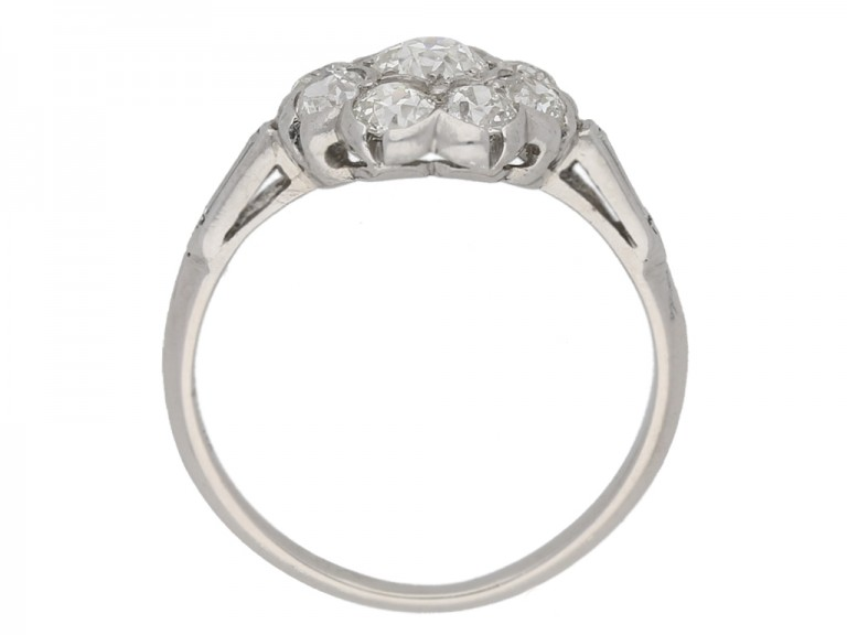 back view Old cut diamond cluster ring, circa 1920.