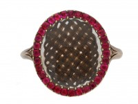 front view  Georgian hair and ruby memorial ring, English, circa 1760. berganza hatton garden