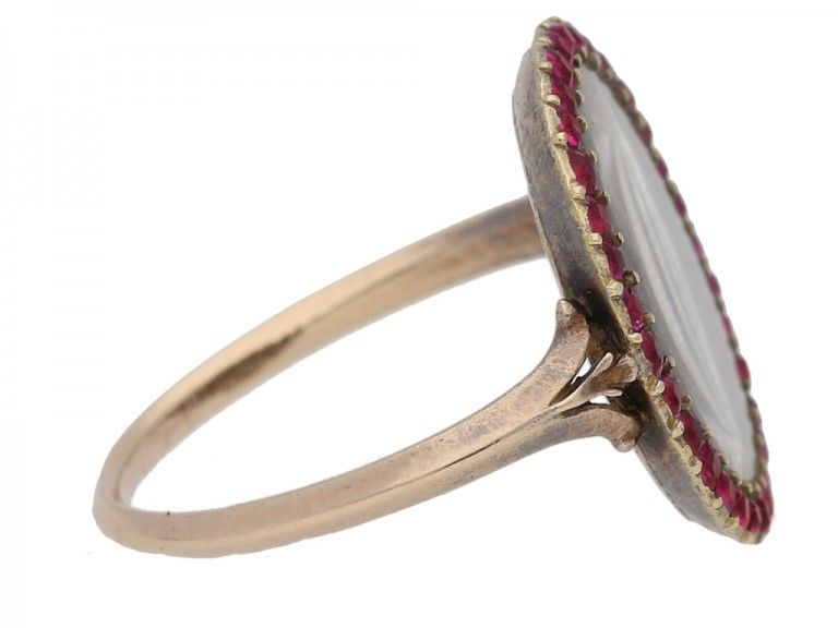 Georgian hair and ruby memorial ring, English, circa 1760. berganza hatton garden
