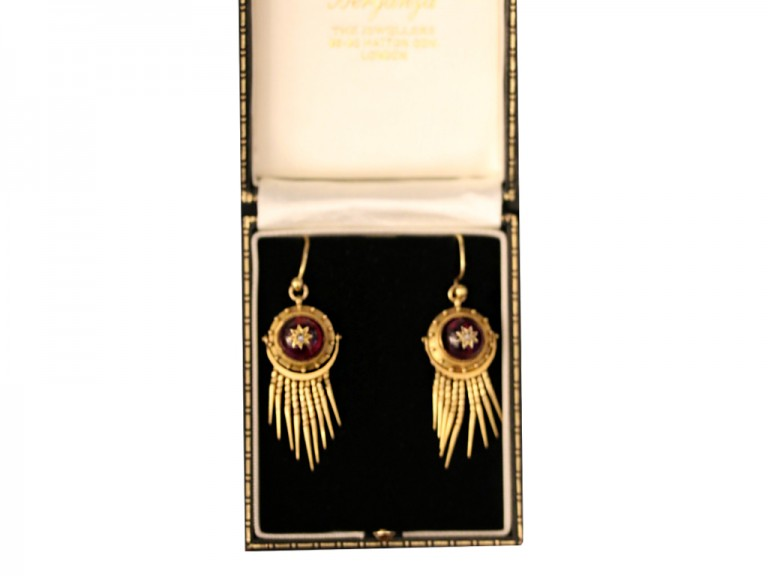 Victorian diamond and garnet drop earrings, circa 1870. berganza hatton garden