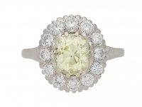 front view Fancy light yellow diamond cluster ring, circa 1950. berganza hatton garden