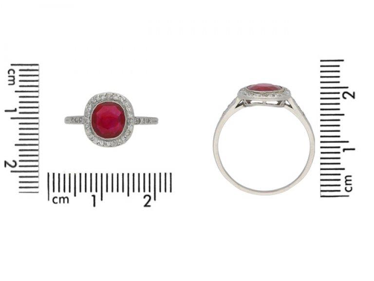 Burmese ruby and diamond cluster ring by Boucheron, French, circa 1920. berganza hatton garden