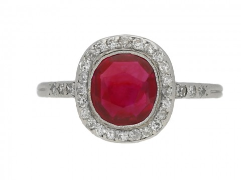 front view Burmese ruby and diamond cluster ring by Boucheron, French, circa 1920. berganza hatton garden