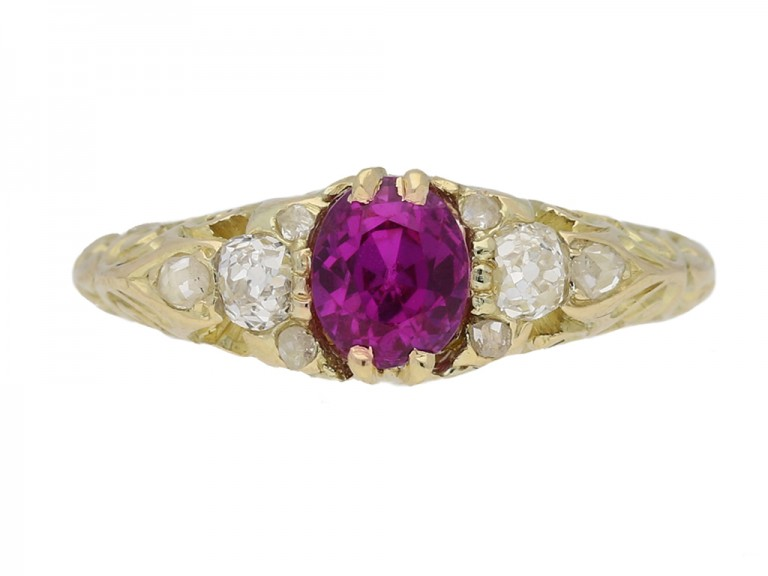 front view Fancy colour sapphire and diamond carved ring, circa 1900. berganza hatton garden