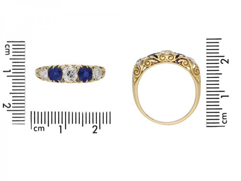 size view Antique carved five stone sapphire and diamond ring, English, circa 1900. hatton garden berganza