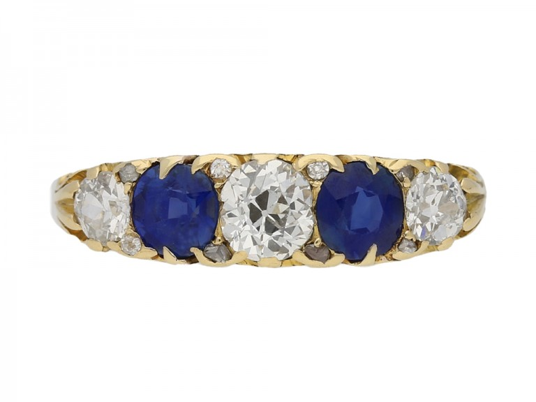 front view Antique carved five stone sapphire and diamond ring, English, circa 1900. hatton garden berganza