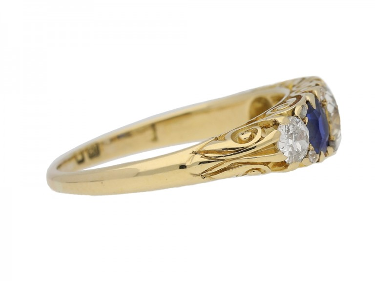side view Antique carved five stone sapphire and diamond ring, English, circa 1900. hatton garden berganza