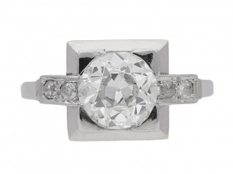 front view Art Deco diamond ring, English, circa 1925. berganza hatton garden