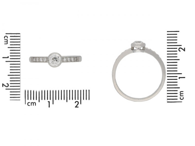 size view Old cut diamond engagement ring, circa 1960. berganza hatton garden