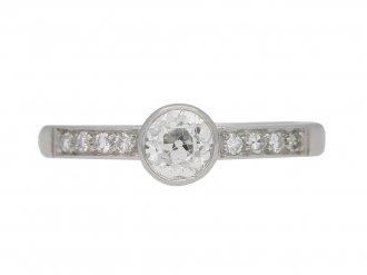 front view Old cut diamond engagement ring, circa 1960. berganza hatton garden