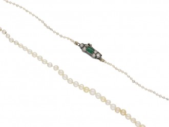 front view Antique pearl necklace with an emerald and diamond clasp, circa 1890. berganza hatton garden
