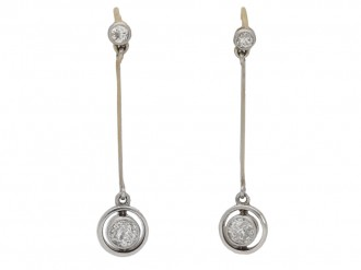 front view  Edwardian diamond drop earrings, circa 1910. berganza hatton garden