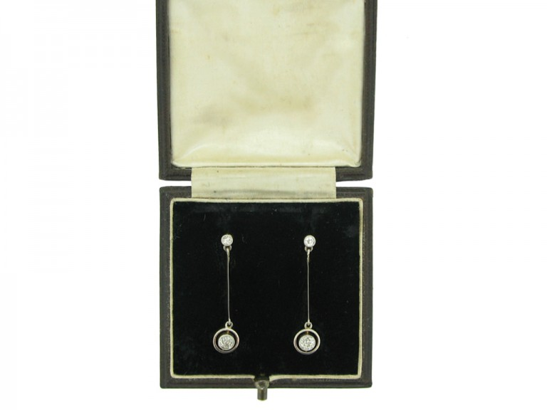 Edwardian diamond drop earrings, circa 1910. berganza hatton garden