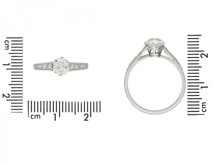 size view Old cut diamond engagement ring, circa 1950. berganza hatton garden