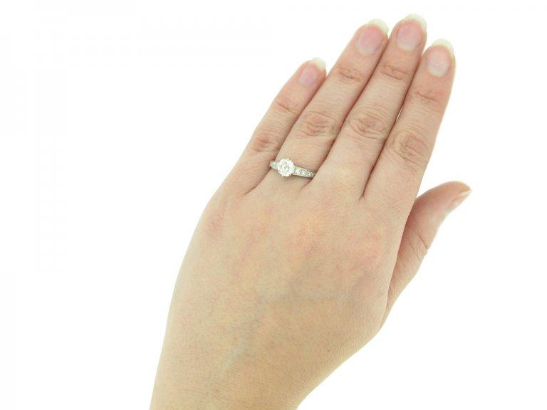 hand view Old cut diamond engagement ring, circa 1950. berganza hatton garden