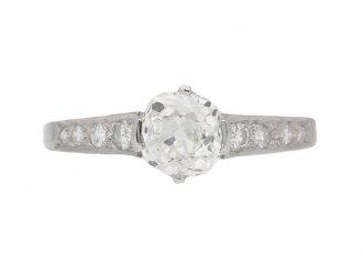 front view Old cut diamond engagement ring, circa 1950. berganza hatton garden