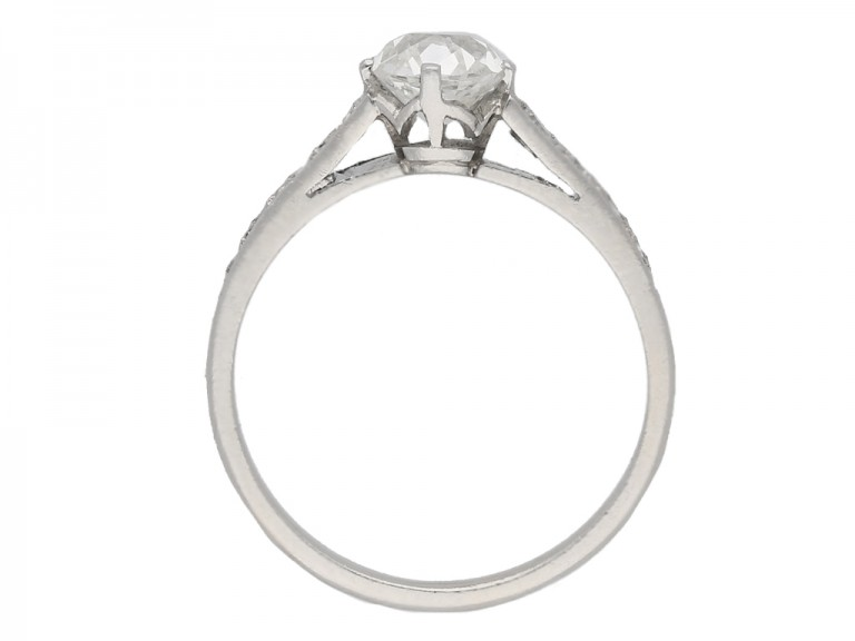 back view Old cut diamond engagement ring, circa 1950. berganza hatton garden