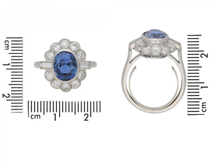 size view Sapphire and diamond cluster ring by Mauboussin, circa 1960. berganza hatton garden