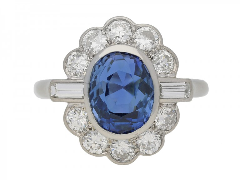front view Sapphire and diamond cluster ring by Mauboussin, circa 1960. berganza hatton garden