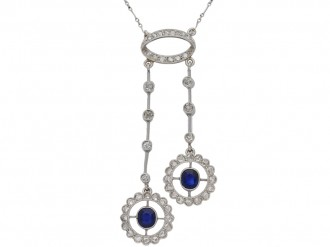 front view antique Sapphire diamond pendant berganza hatton garden