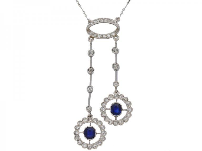 front view antique Sapphire diamond pendant berganza hatton garden