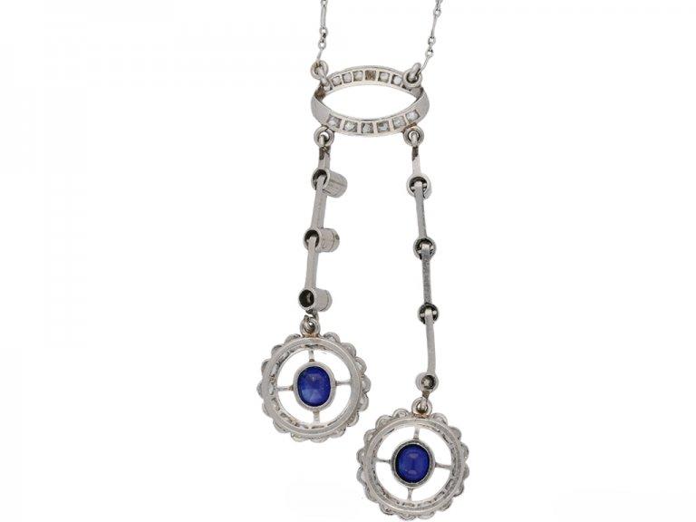 antique Sapphire diamond pendant berganza hatton garden