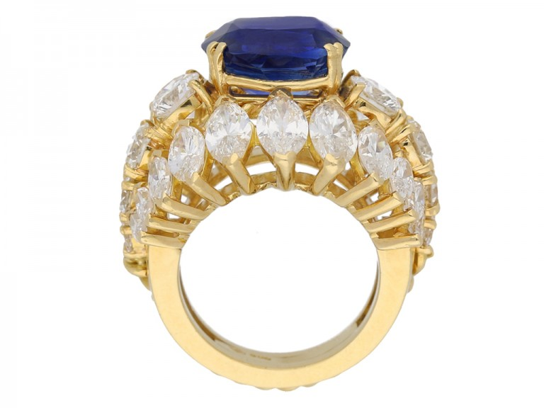 back view  Natural Burmese sapphire and diamond ring, circa 1960. berganza hatton garden