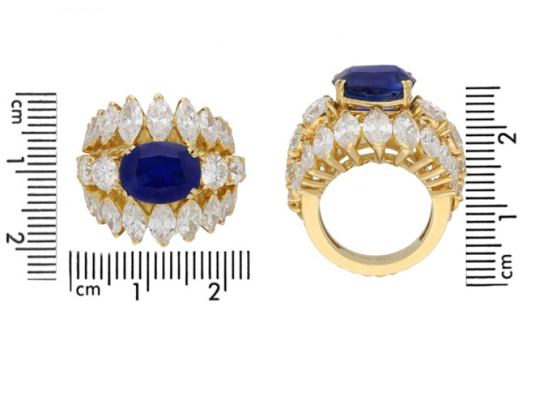 size view  Natural Burmese sapphire and diamond ring, circa 1960. berganza hatton garden