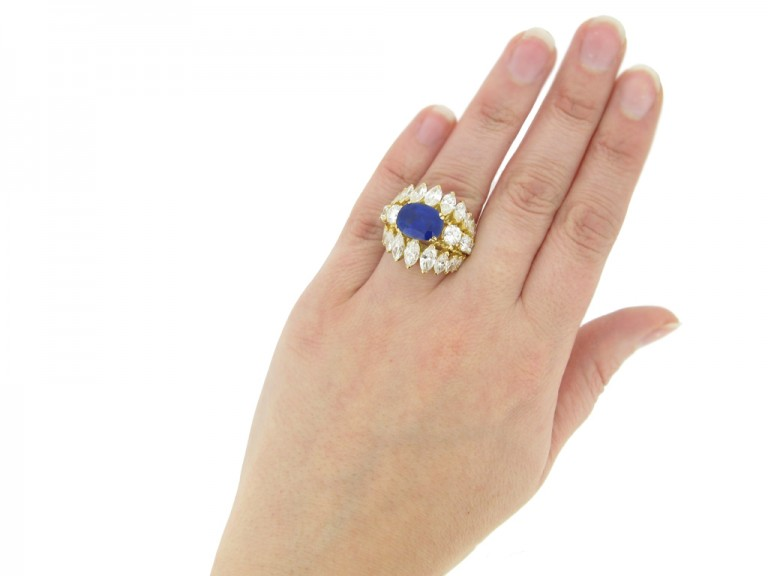 hand view  Natural Burmese sapphire and diamond ring, circa 1960. berganza hatton garden