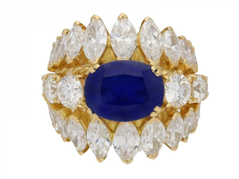 front view  Natural Burmese sapphire and diamond ring, circa 1960. berganza hatton garden