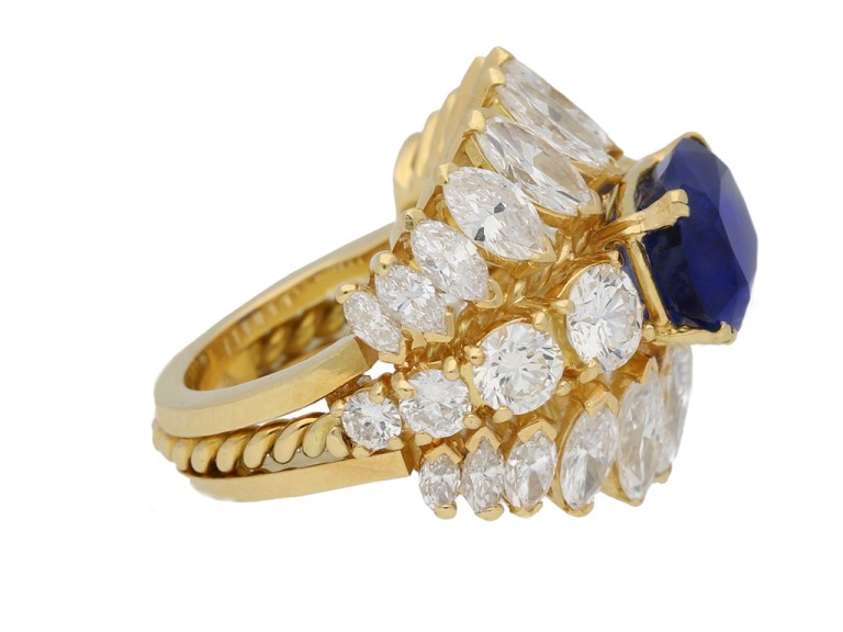 side view  Natural Burmese sapphire and diamond ring, circa 1960. berganza hatton garden