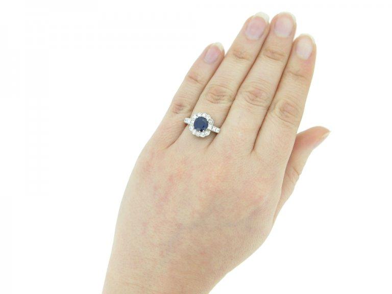 Royal blue Burmese sapphire diamond ring berganza hatton garden