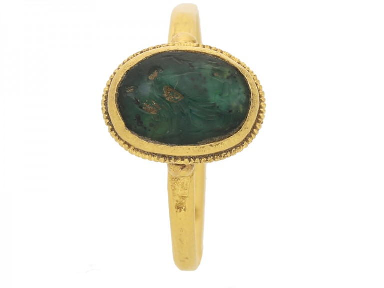 Ancient Roman bird intaglio ring, circa 3rd century AD. berganza hatton garden