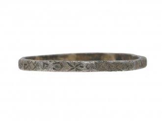 front view Medieval magical engraved ring, circa 14th 15th century AD. berganza hatton garden