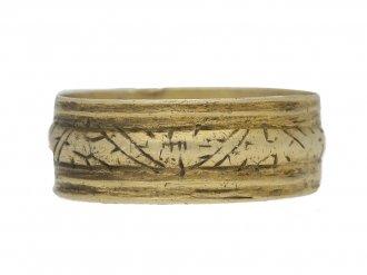 front view  Medieval silver gilt band ring, circa 15th 16th century AD. berganza hatton garden
