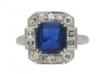 front view Art Deco sapphire and diamond ring, circa 1935. berganza hatton garden